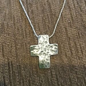 SILPADA STERLING SILVER HAMMERED CROSS PENDANT & C